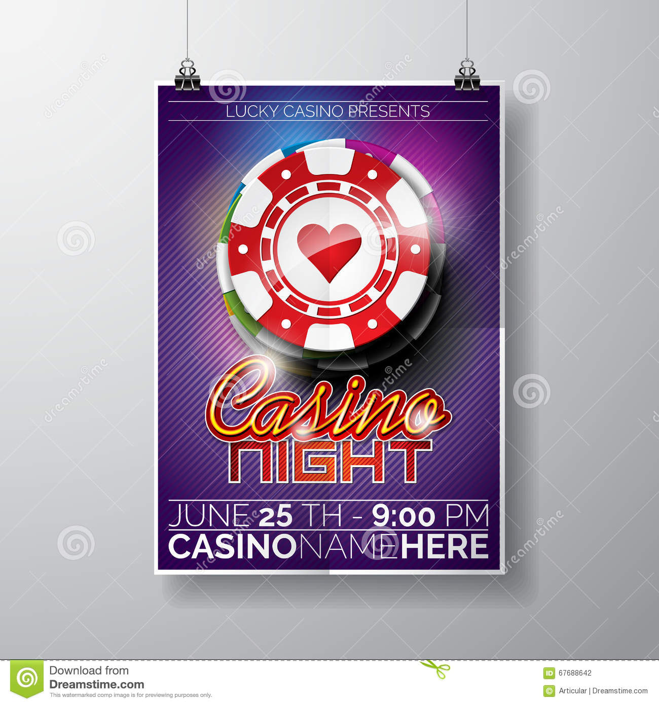 Vector Party Flyer design on a Casino theme with chips and typographyc text on violet background.