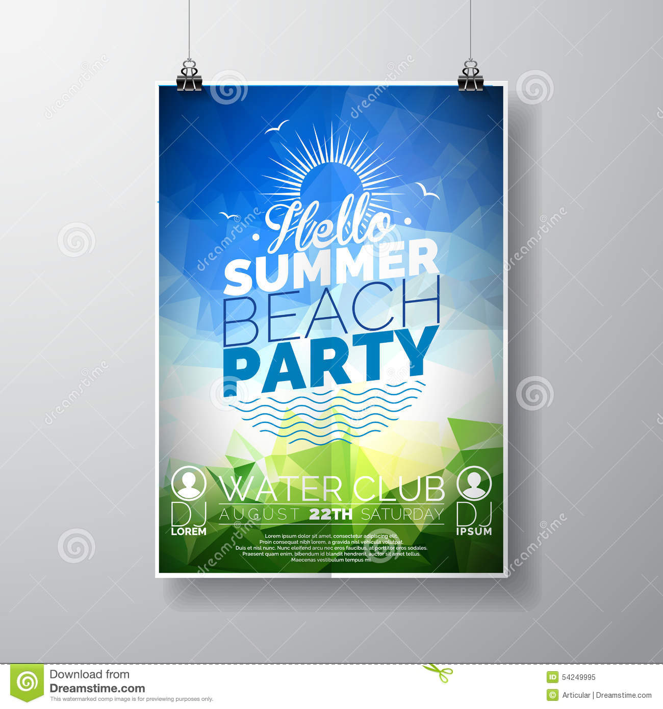 Beach Theme Card Stock: Vector Party Flyer Poster Template On Summer Beach Theme