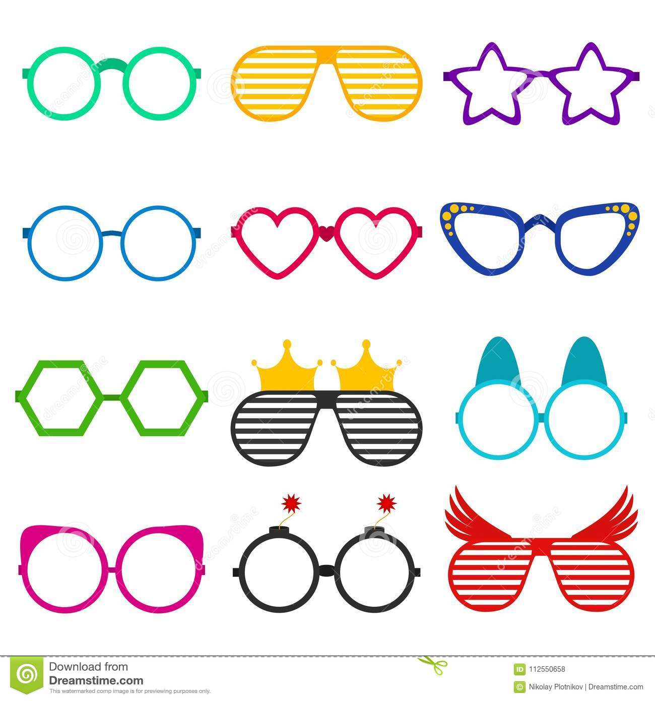 0608c317801 Vector party sunglasses or eyeglasses set in funny shape. Accessories for  hipsters fashion optical spectacles