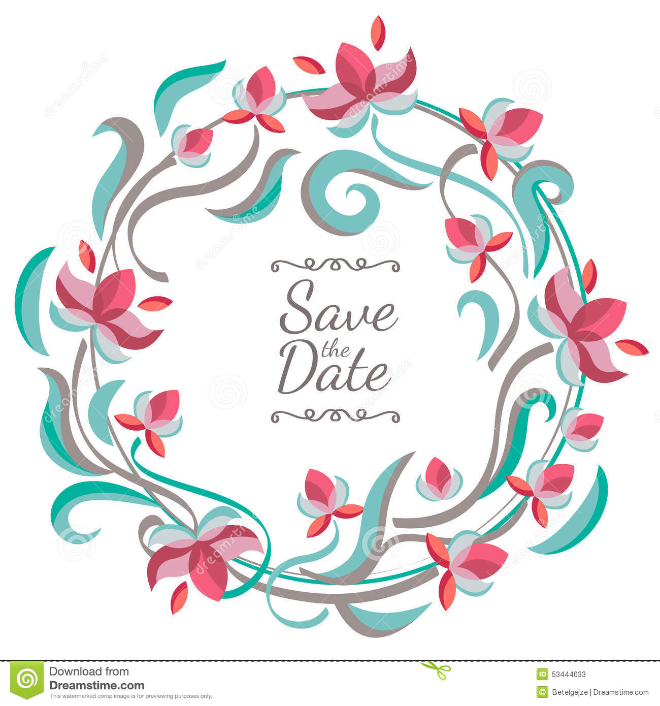 Save The Date Wedding Floral Ornament Wedding Floral: Vector Pastel Color Floral Frame With Flowers. Wedding
