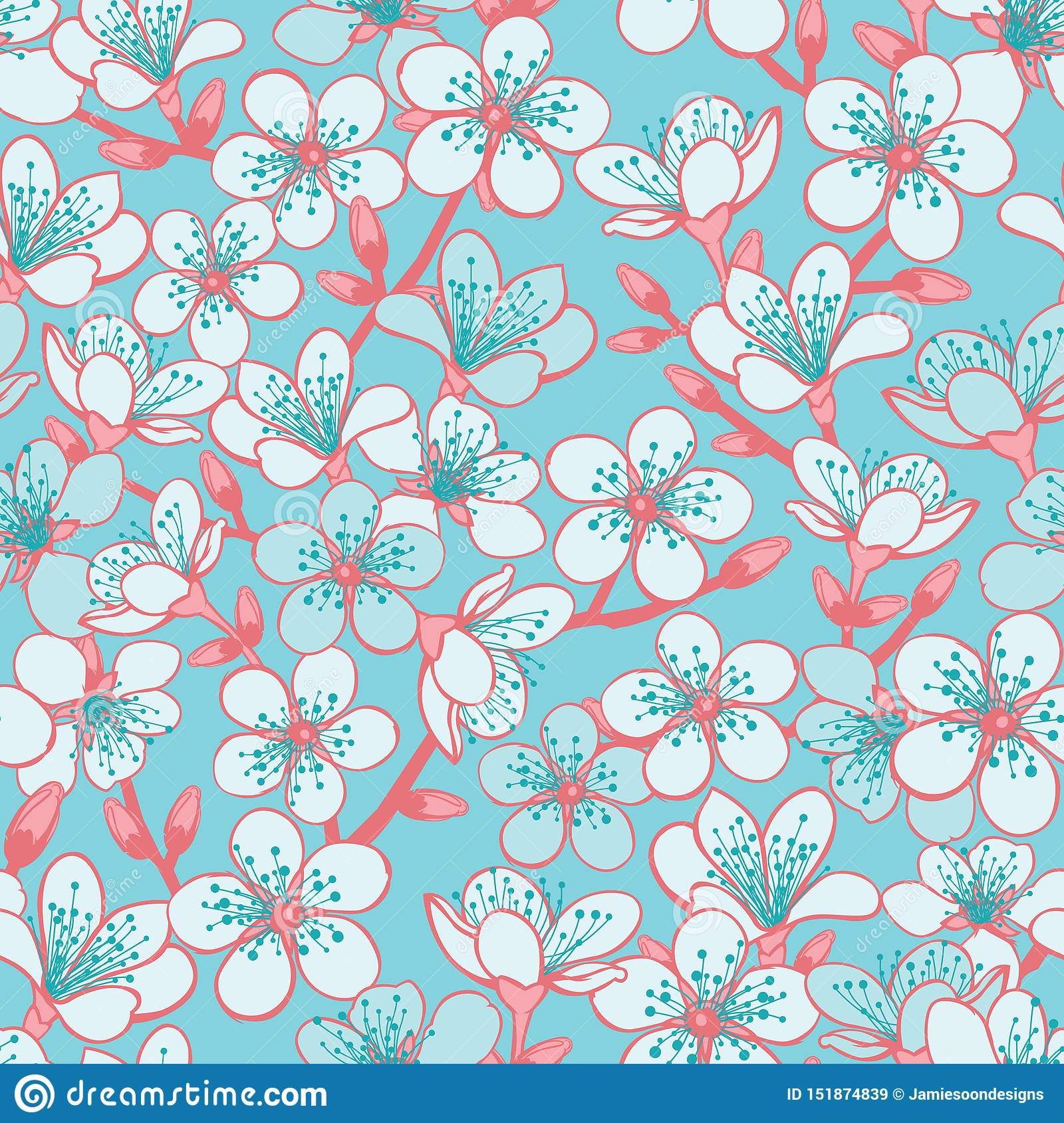 Vector pastel cyan background with light blue cherry blossom sakura flowers and red stems seamless pattern background