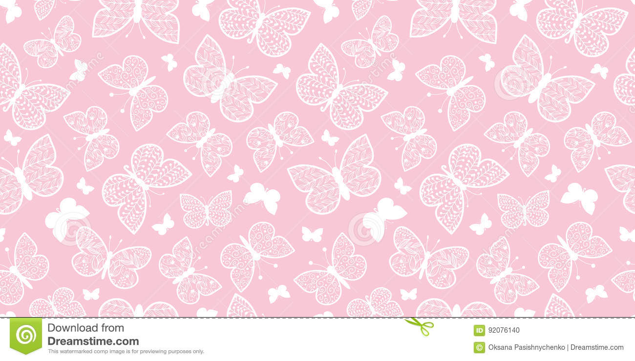 Pink Butterflies Repeat Pattern Background Stock Image