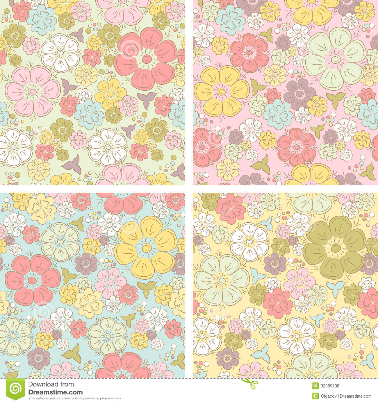 Vector Pastel Seamless Floral Pattern Stock Vector Illustration Of