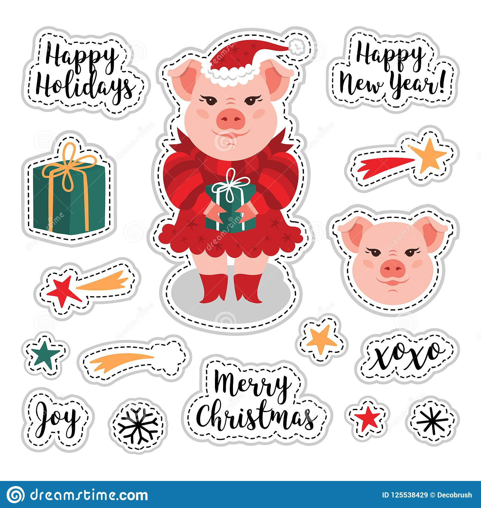 vector patch set christmas and happy new year 2019 cute pig gift