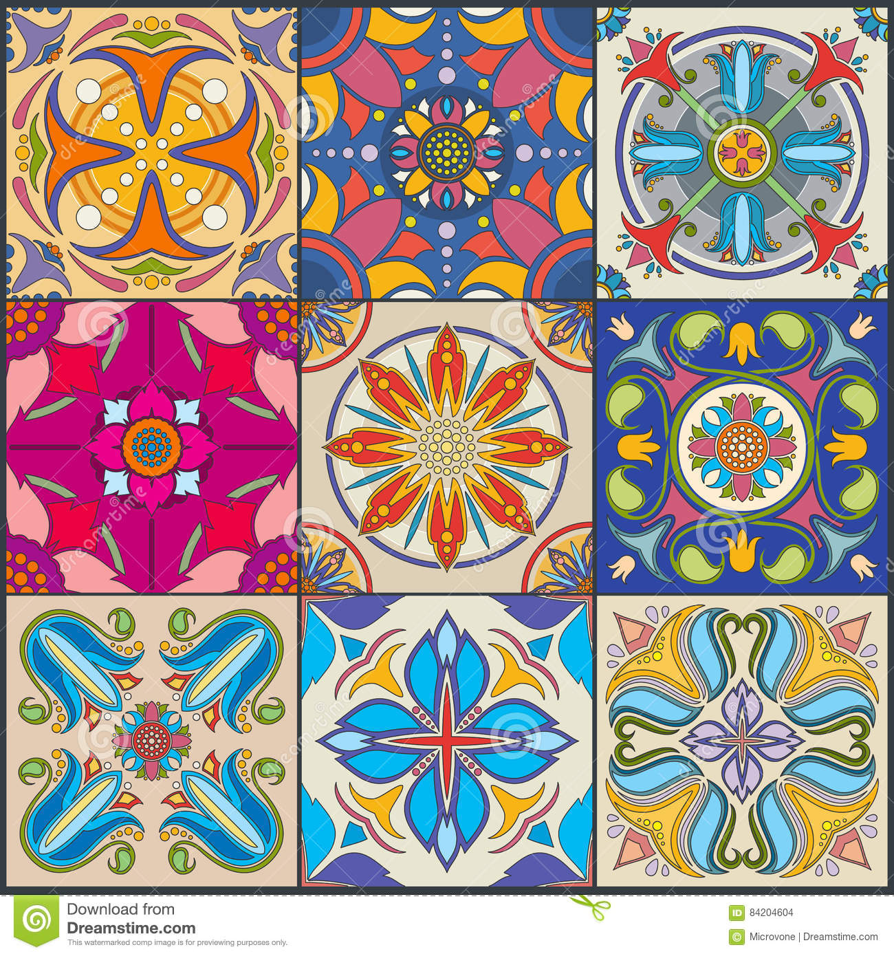Vector Patchwork Seamless Wall Tile Pattern Ceramic Mexican Tiles