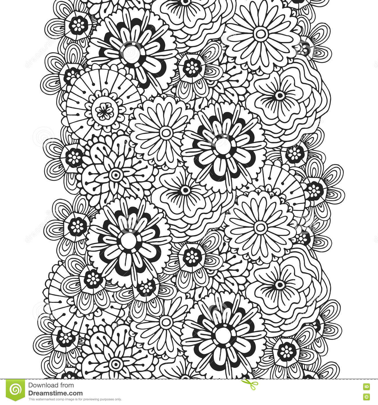 Vector Pattern With Abstract Ornament Of Flowers. Adult ...