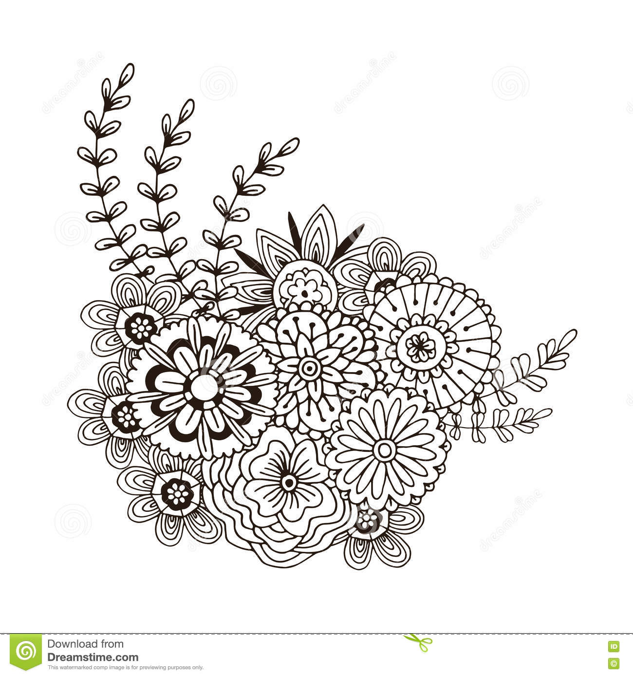 Vector Pattern With Abstract Ornament Of Flowers Adult Coloring