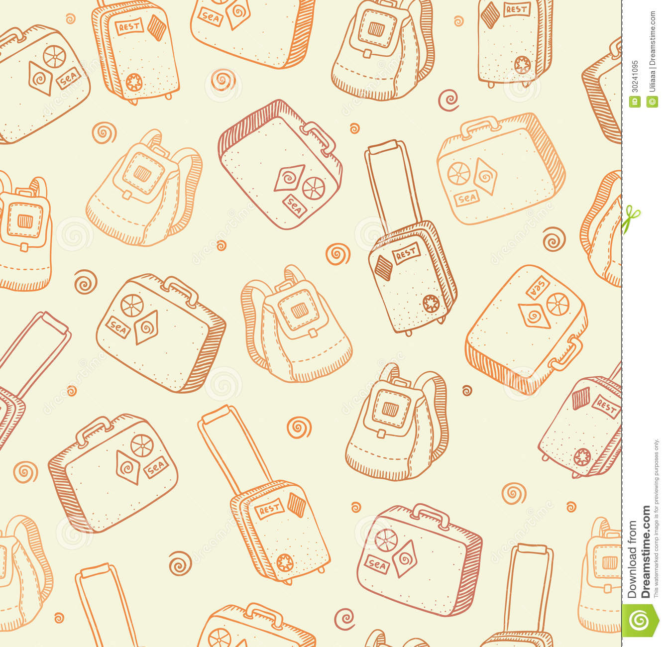 Vector Pattern With Bags Suitcases And Backpacks Royalty