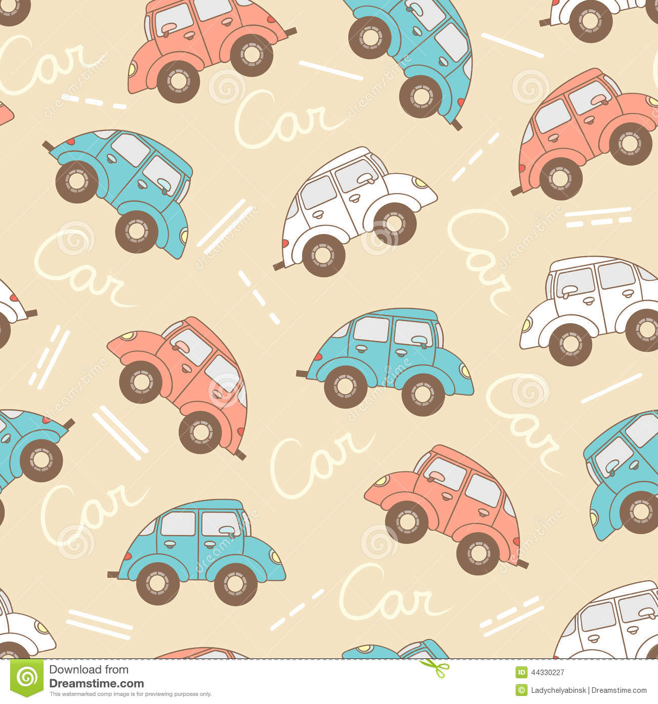 Vector pattern with cartoon cars for use in design stock for Fabric sites