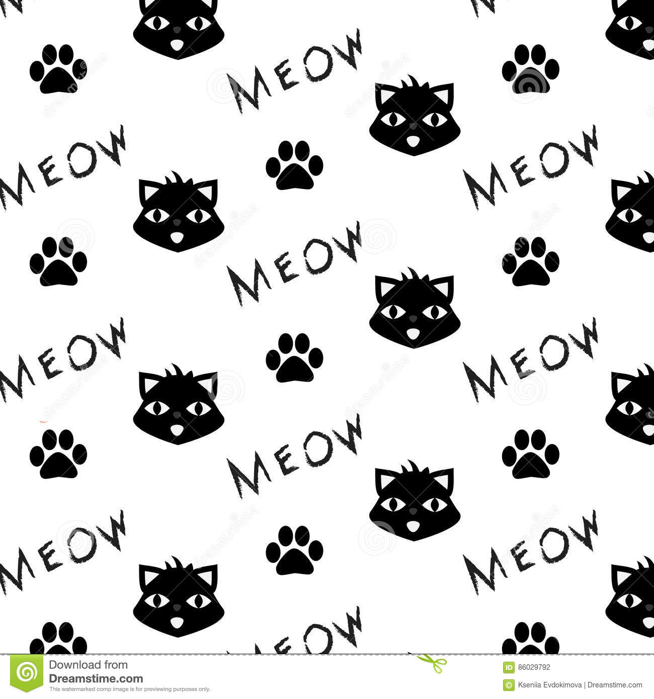 graphic regarding Printable Paw Prints referred to as Vector Practice With Cat, Paw Prints And Meow Phrase. Printable
