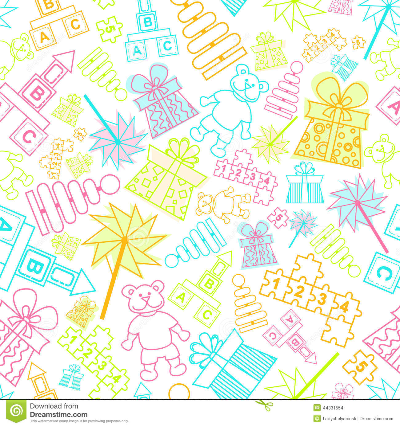 Vector pattern with children toys stock vector image for Childrens patterned fabric
