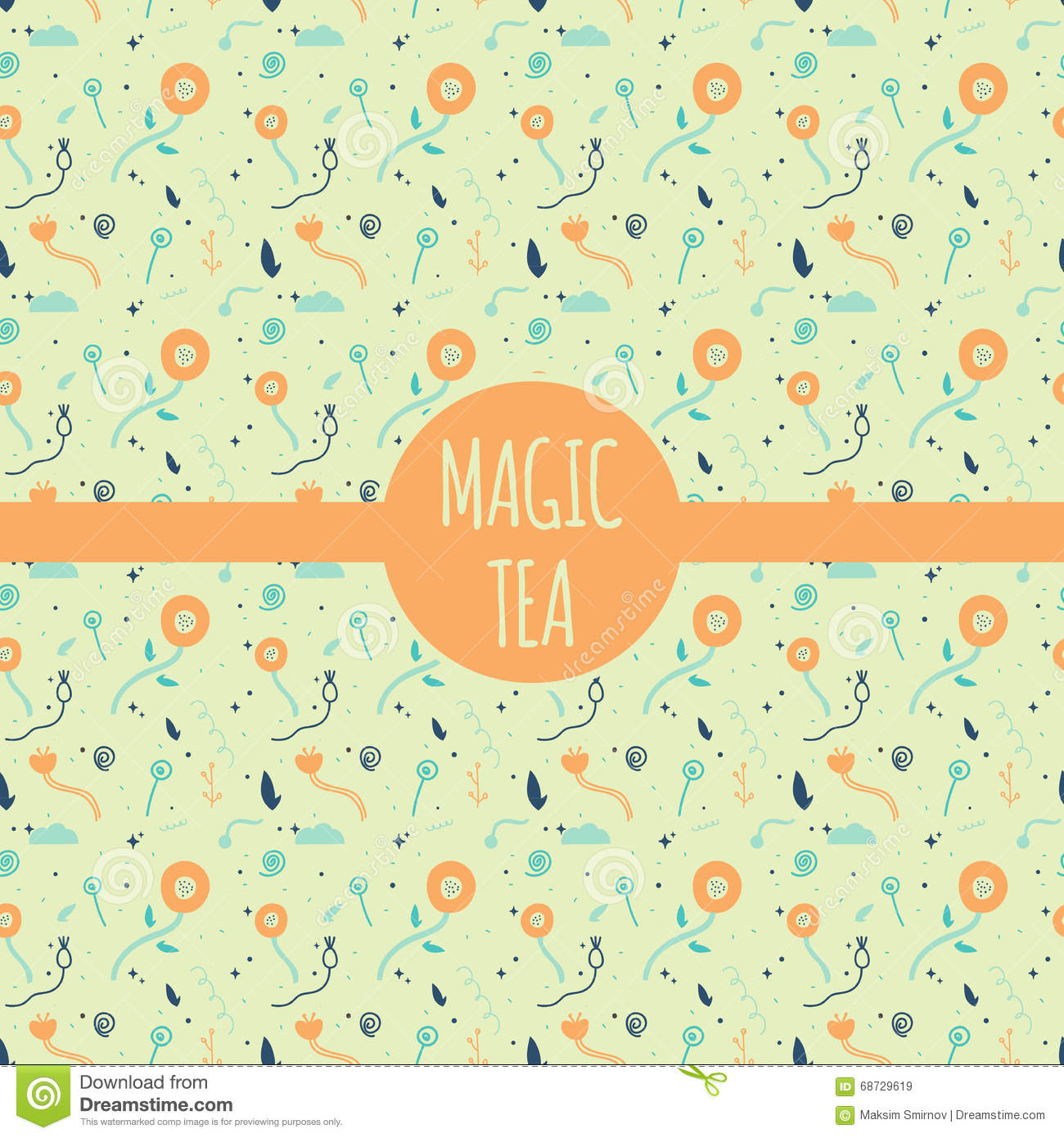 Vector Pattern Collection For Tea Package - White,black And