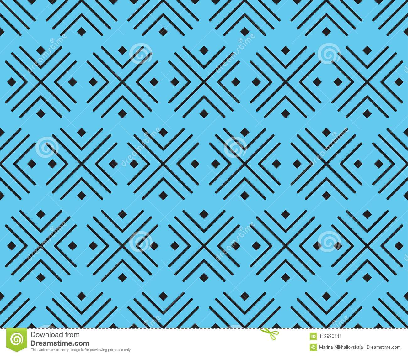 Vector pattern of crosses and squares of black color on a blue background.