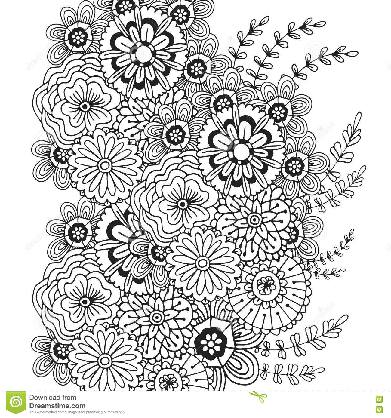 Vector Pattern With Doodle Ornament Of Flowers Adult Coloring Book
