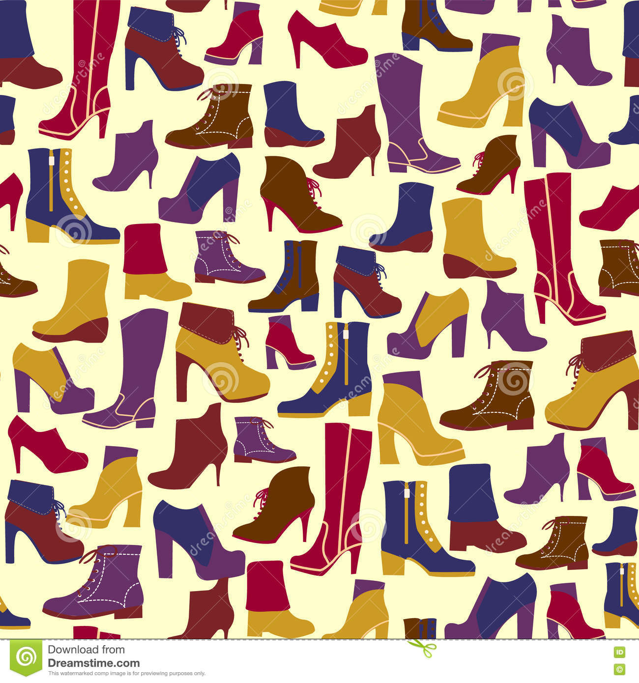 Vector Pattern Of Fashion Shoes Silhouettes Background
