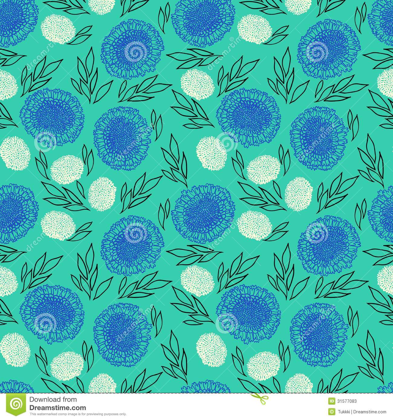 Tropical Home Decor Fabric Vector Pattern With Flowers Drawn In Thin Lines Stock