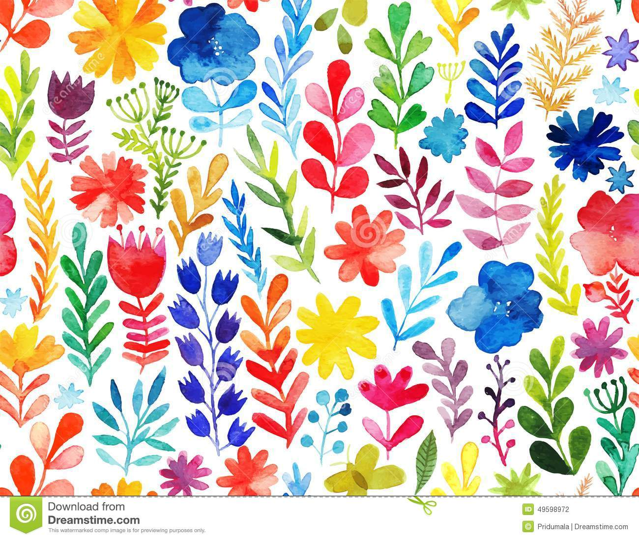 Vector pattern with flowers and plants. Floral decor. Original floral seamless background