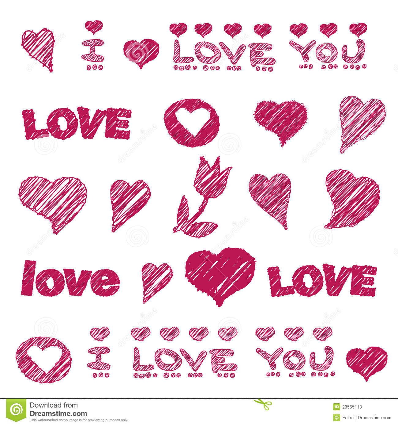 Vector pattern with hand drawn love design element stock for Love the design