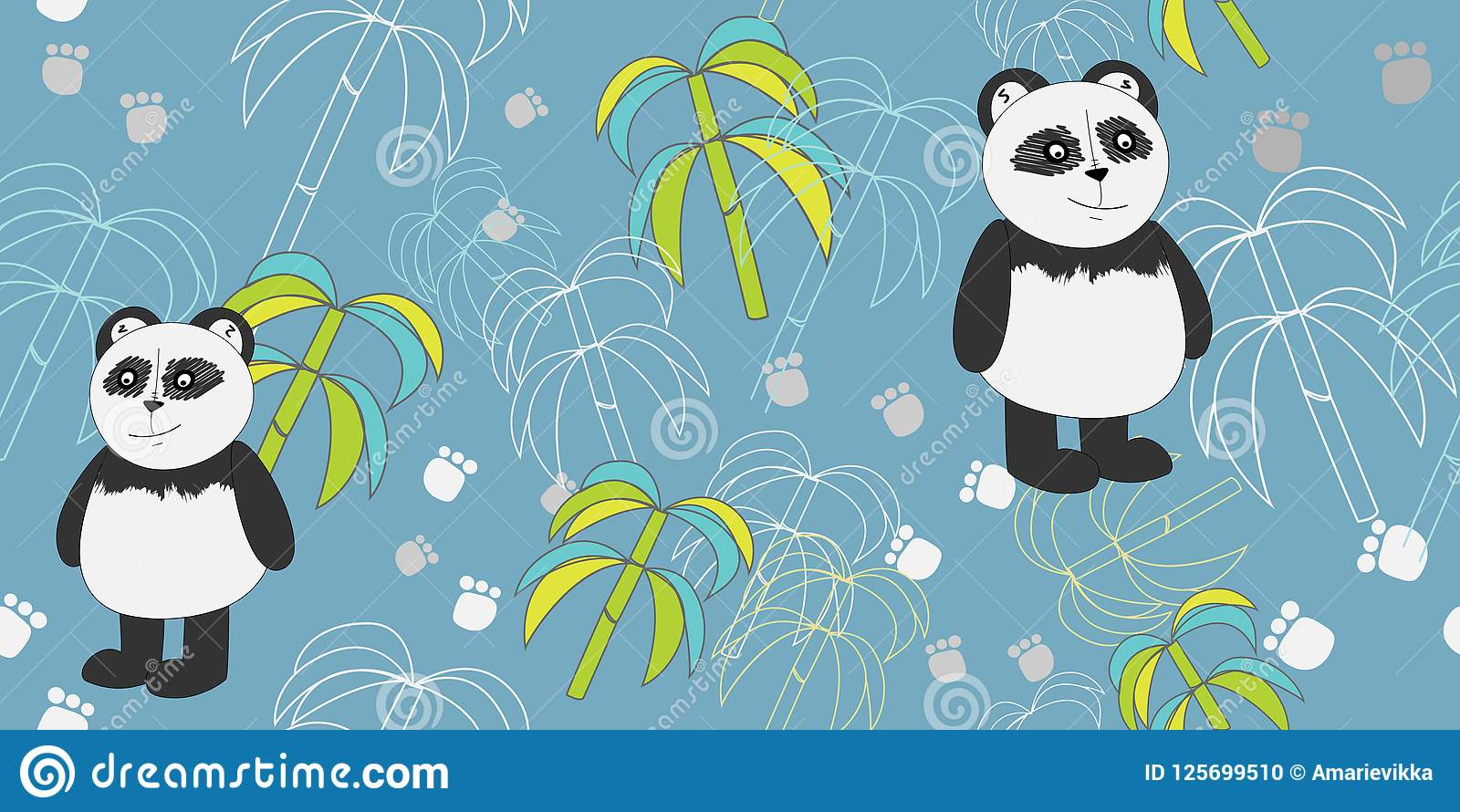 vector pattern with pandas and bamboo print for textiles scrapbook