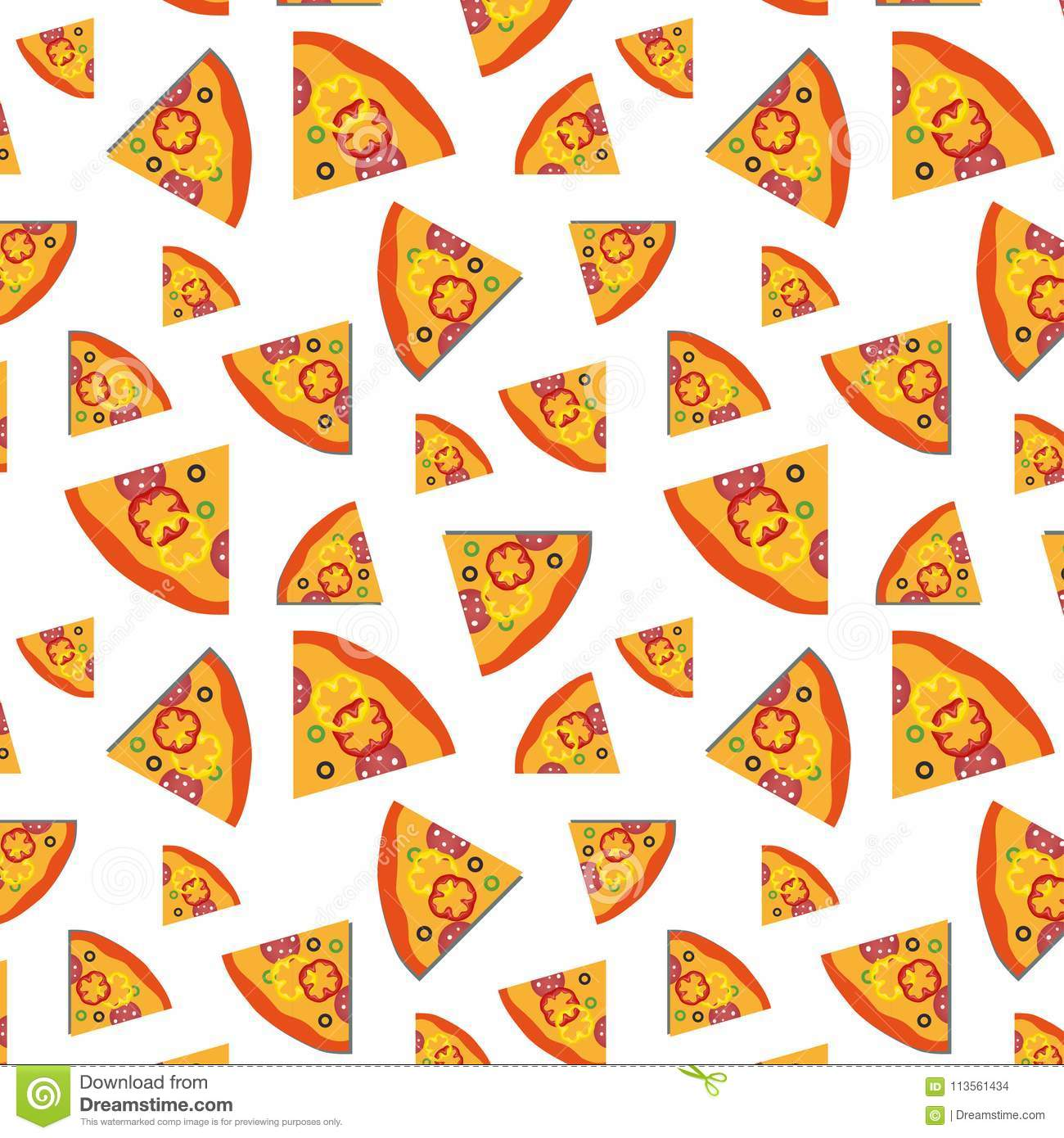 Vector pattern with pizza slices and vegetables background. Art illustration design