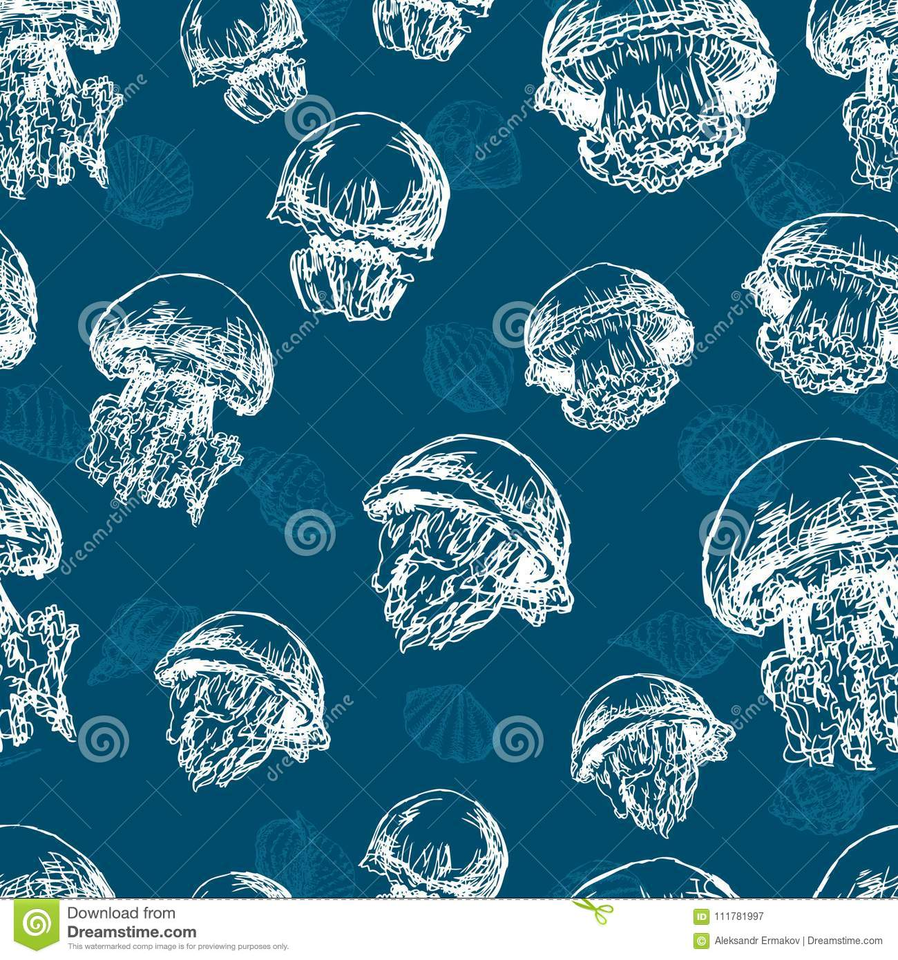 Seamless background of the sea jellyfishes