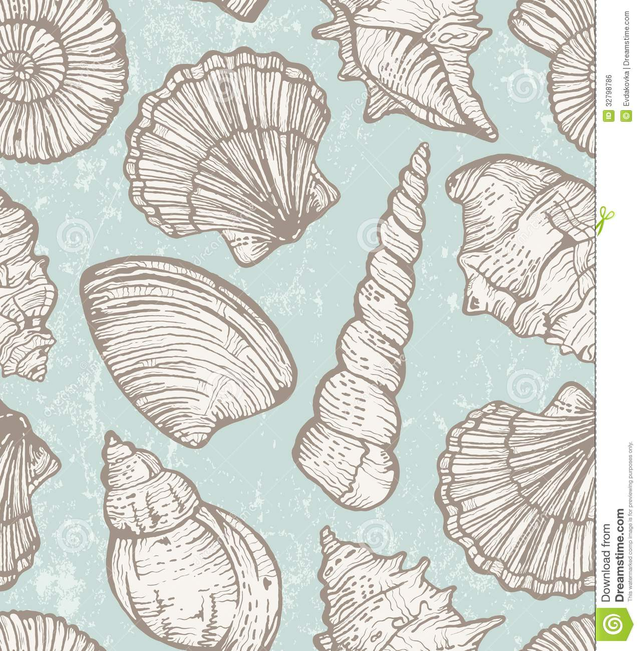 Vector Pattern With Sea Shells Royalty Free Stock Image - Image ...