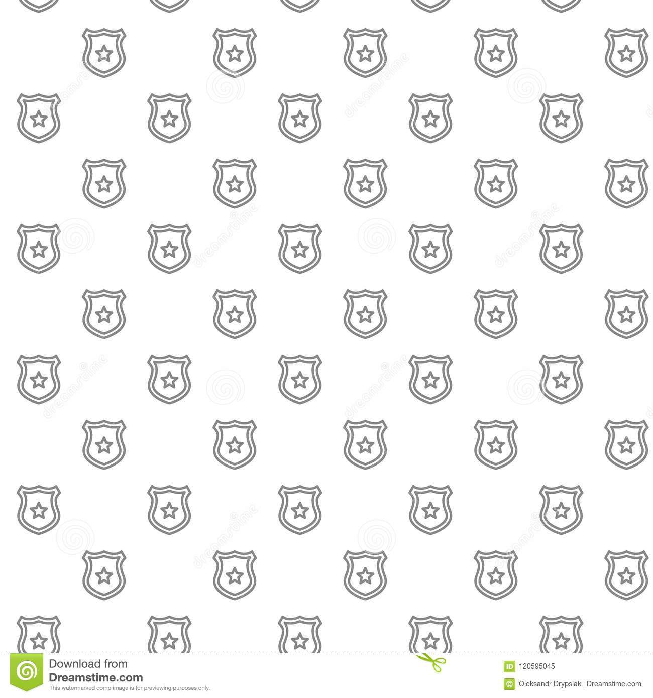 Simple Police Office Badge Seamless Pattern With Various