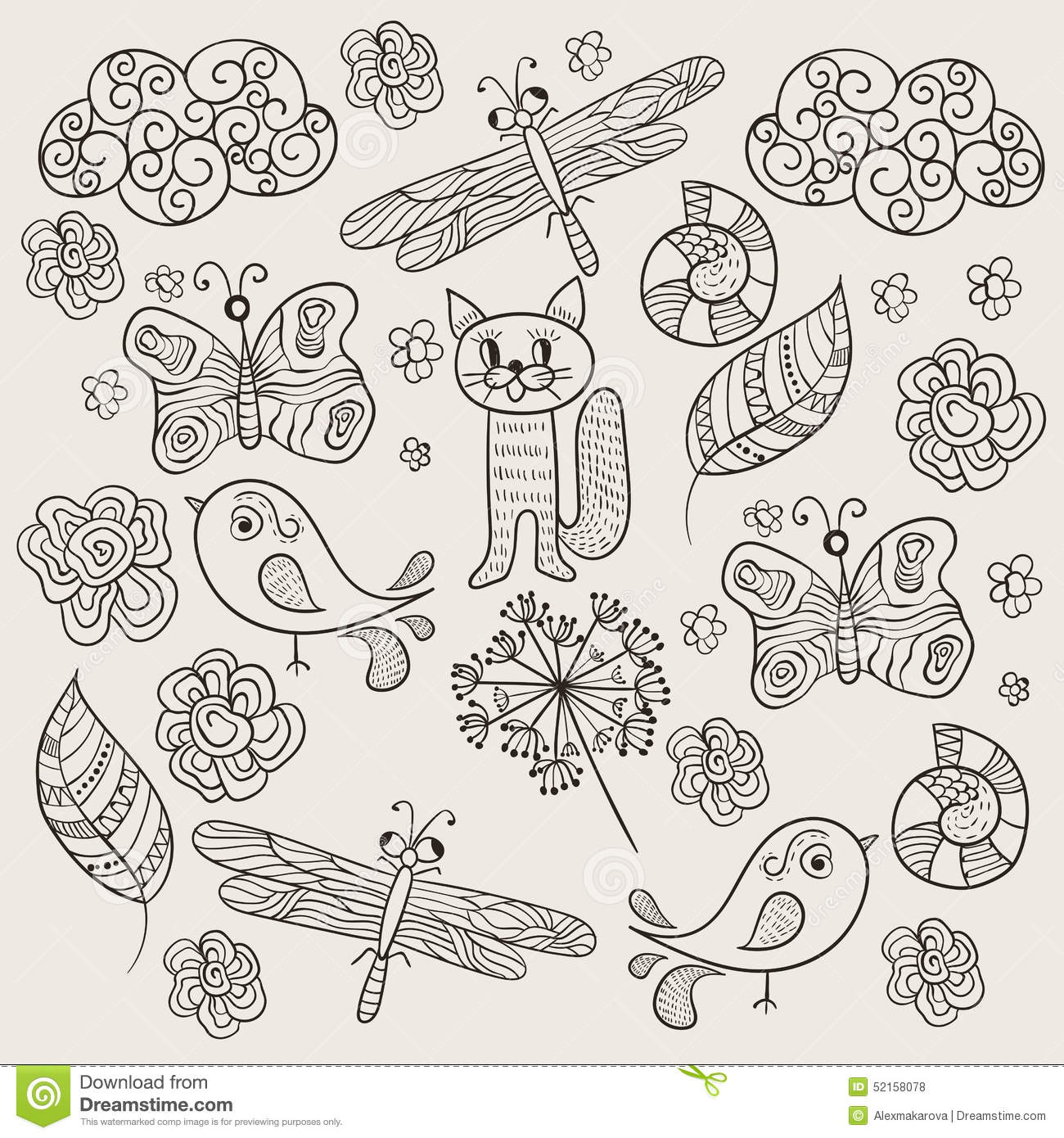 Simple Vector Line Art : Vector pattern with simple drawings stock image