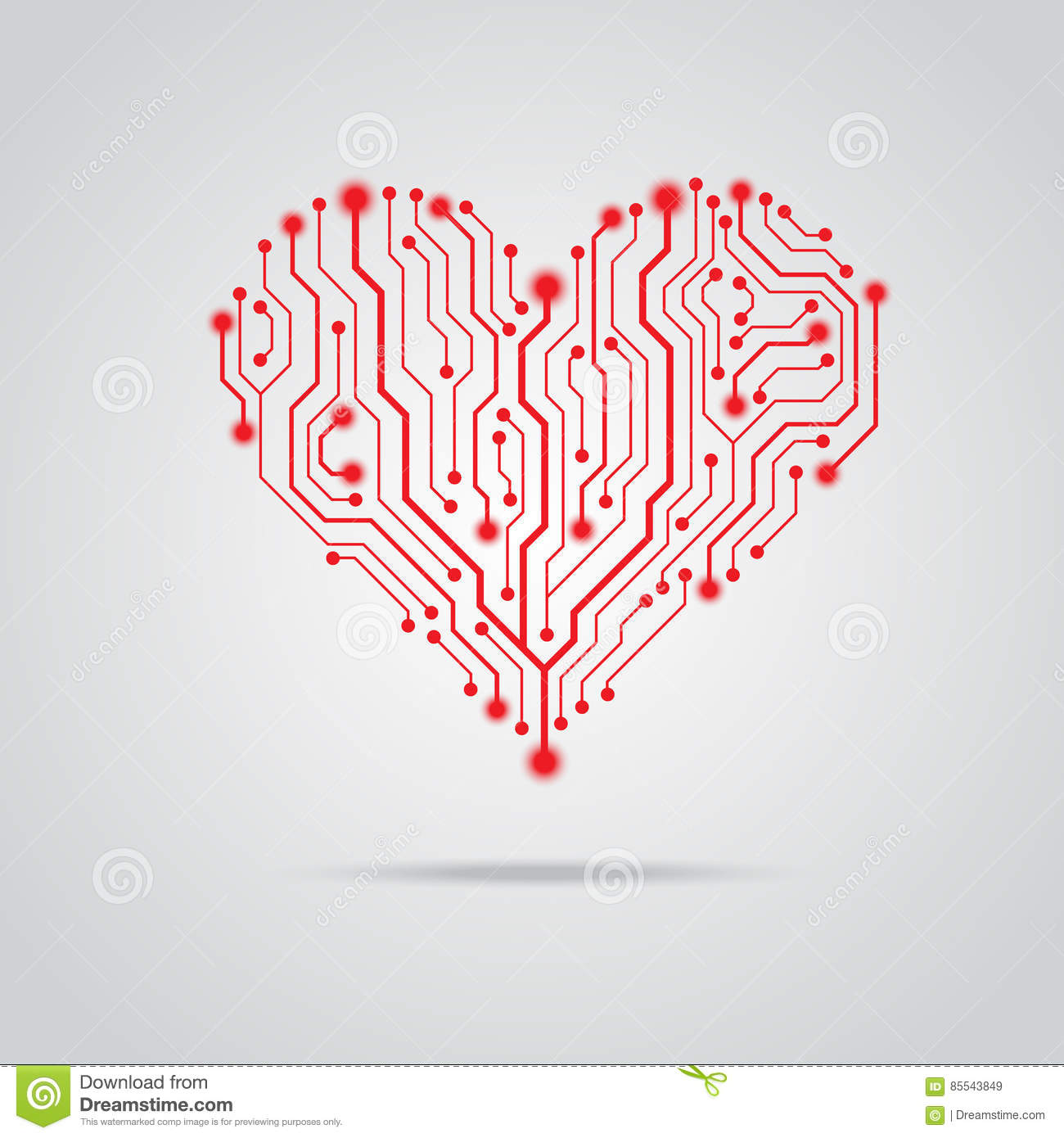Vector Pcb Red Heart Design Stock Illustration Of Picture The Circuit