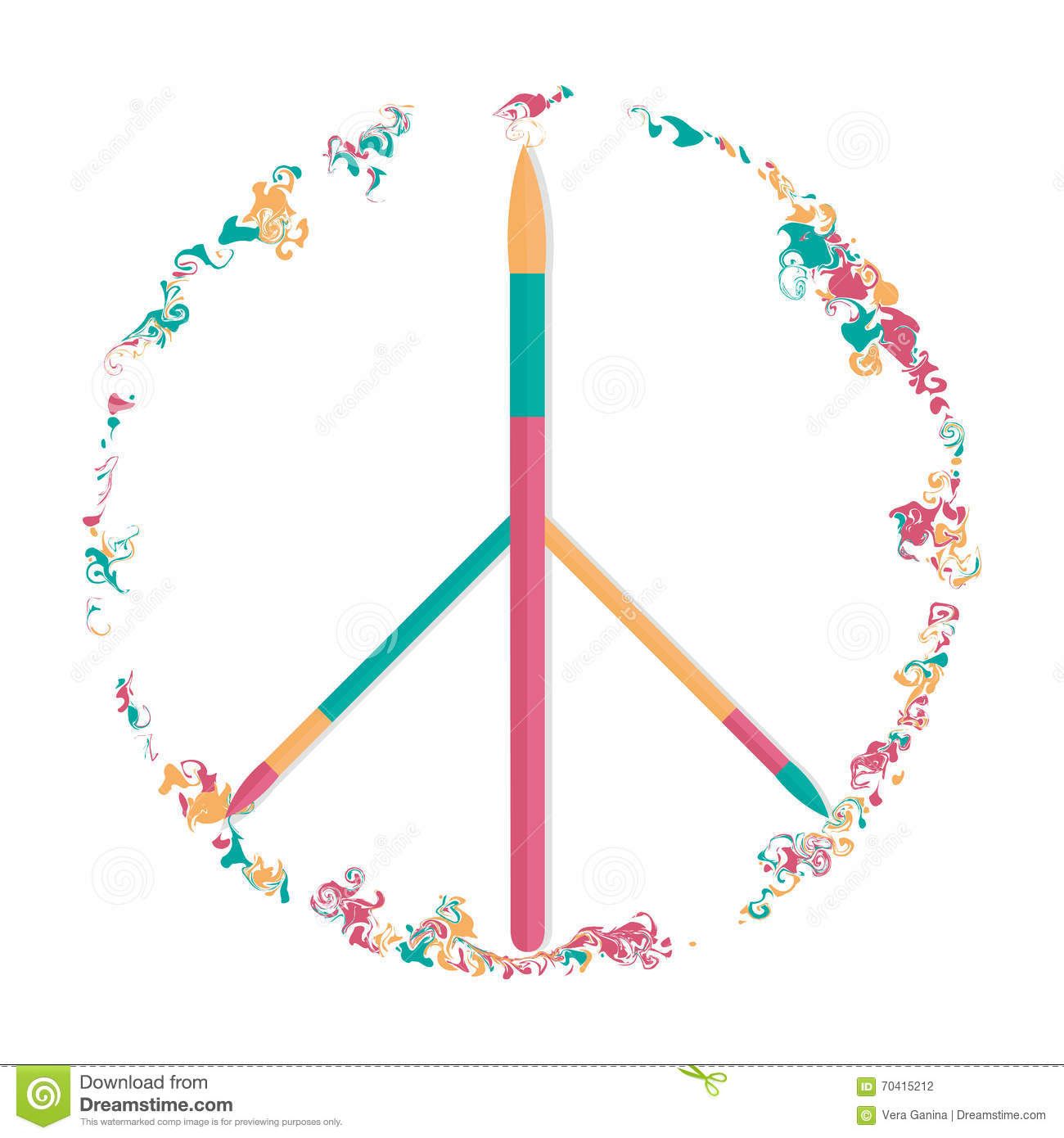 Vector Peace Symbol The Power Of Art Stock Vector Illustration Of