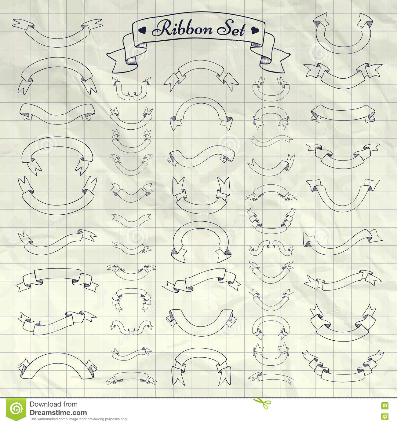 Vector Pen Drawing Ribbons Banners On Notebook Texture Stock