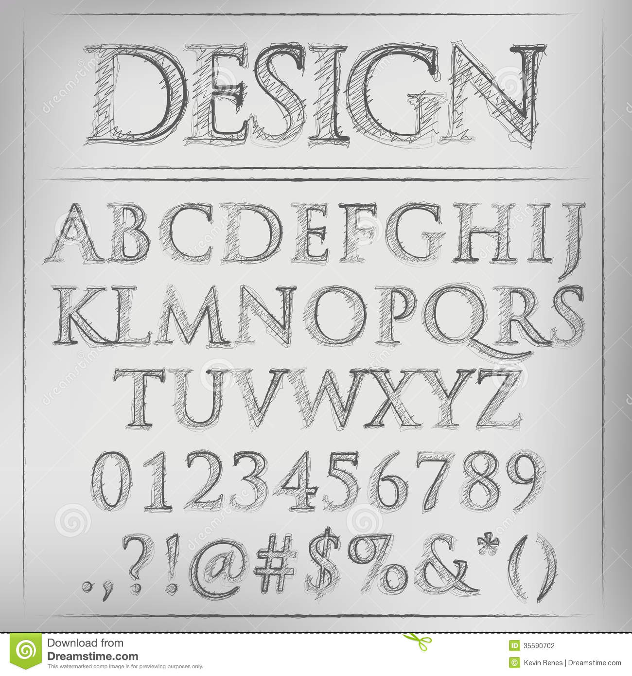 Vector pencil sketched font stock image