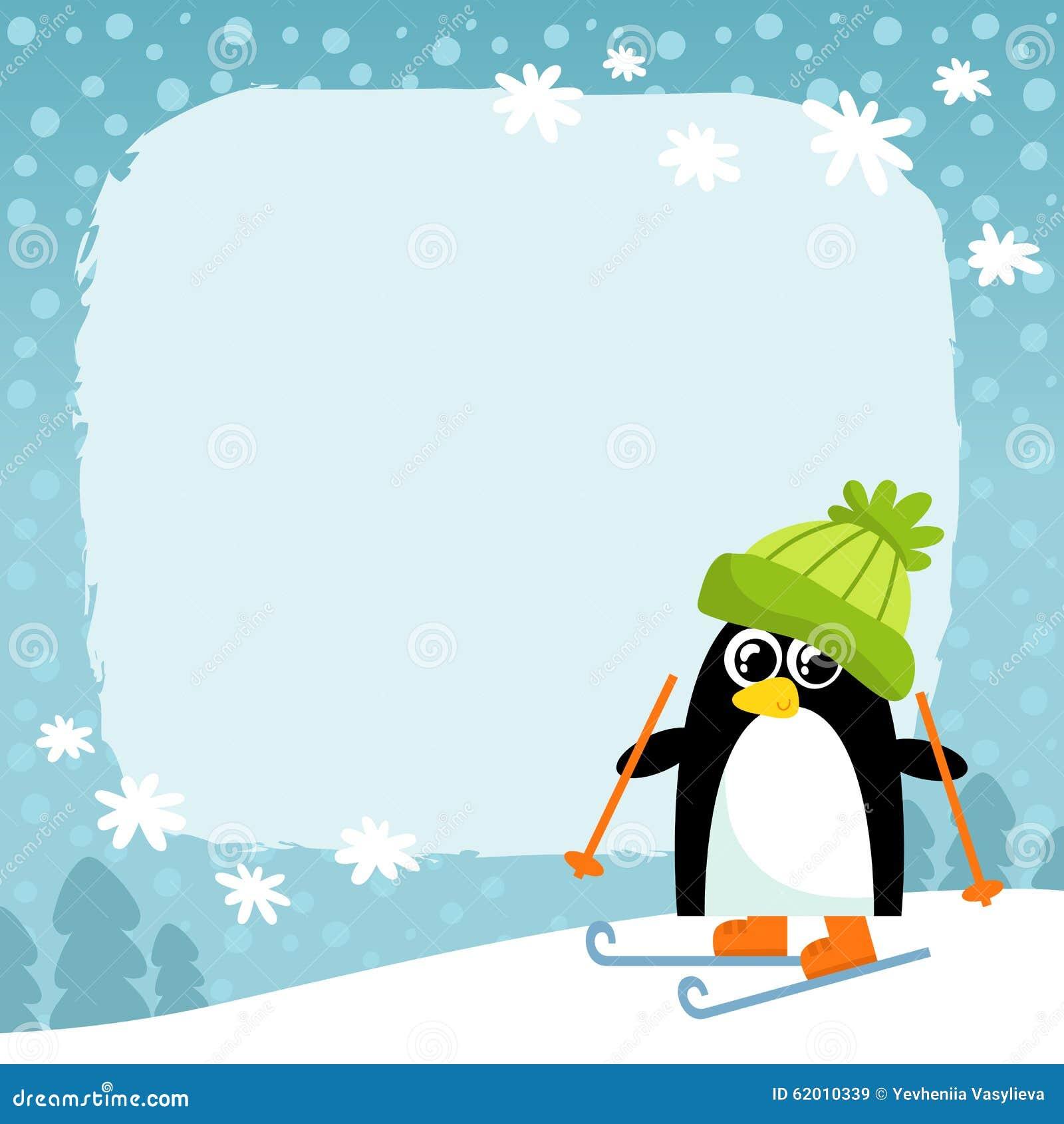 Vector penguin in green hat on winter snowy background cute cartoon