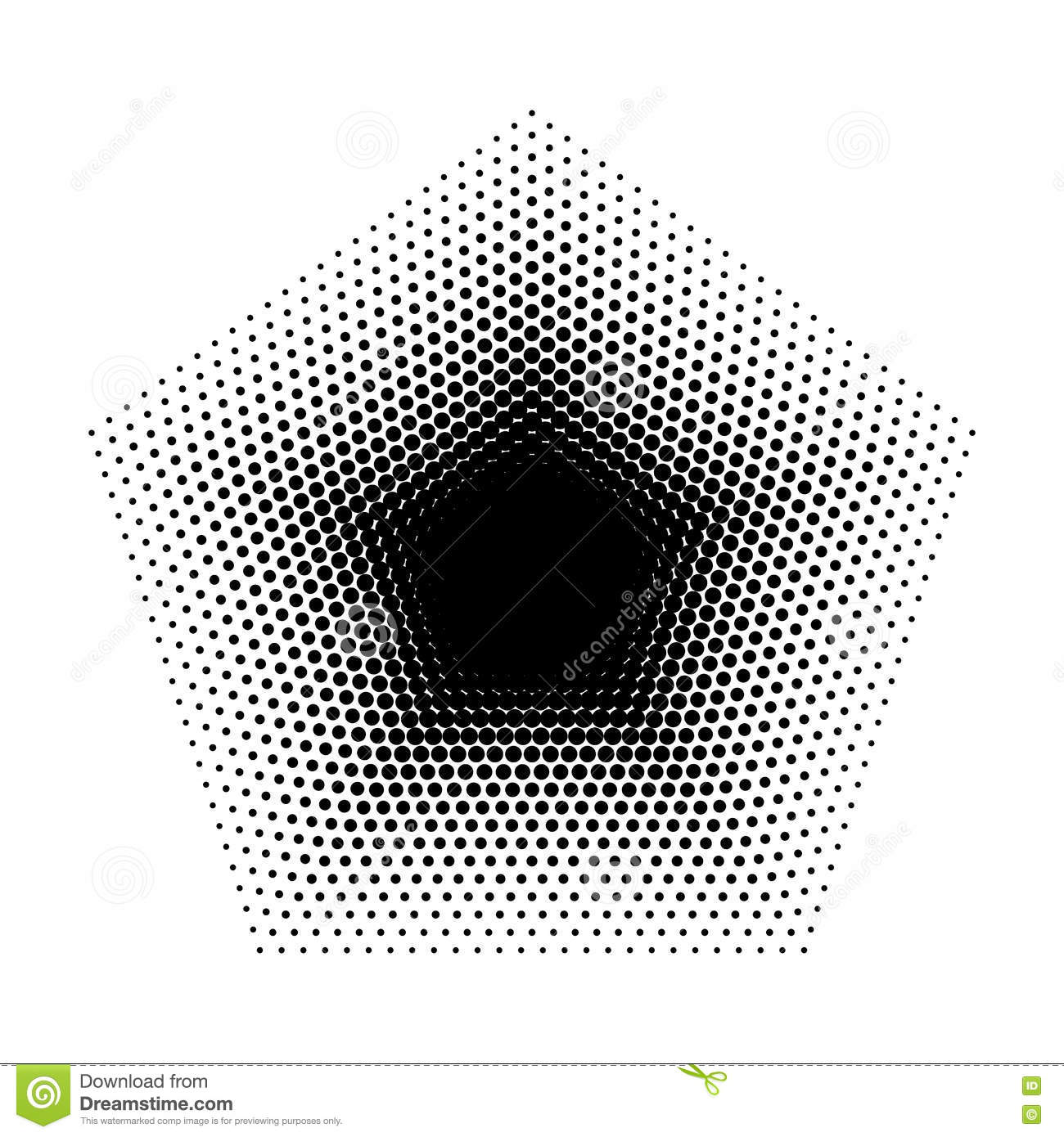 Vector Pentagon Halftone Geometric Shapes Five Angles Dot Abstract Background