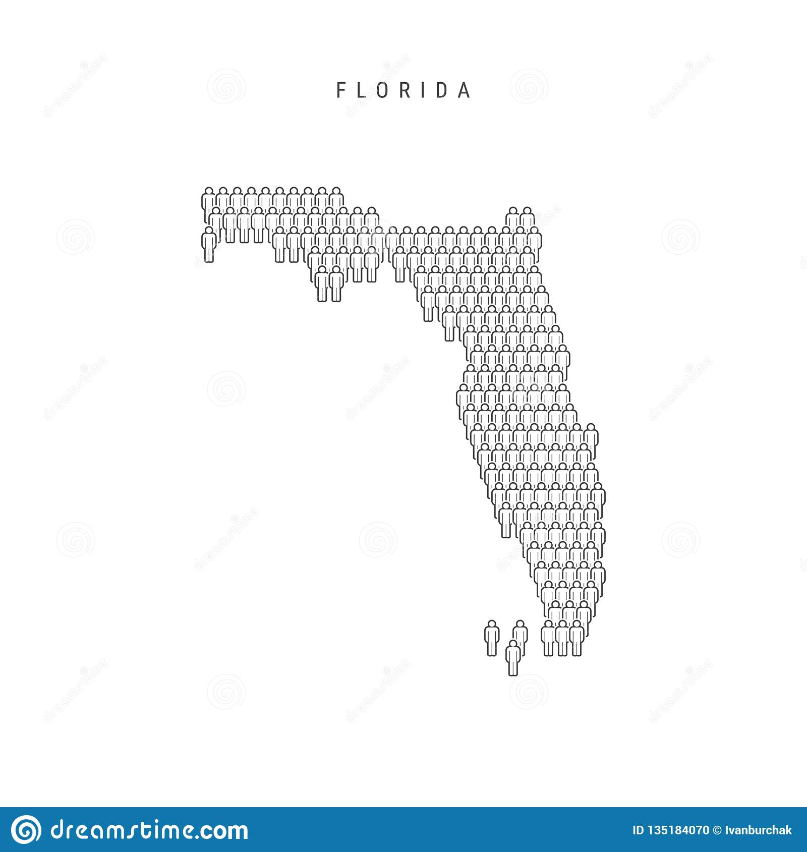 Large Map Of Florida.Vector People Map Of Florida Us State Stylized Silhouette People