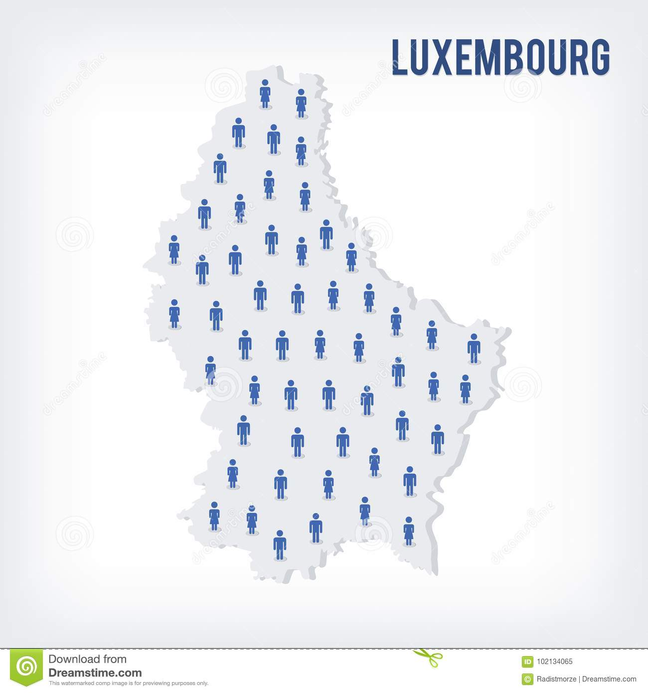 Population Concept Map.Vector People Map Of Luxembourg The Concept Of Population Stock