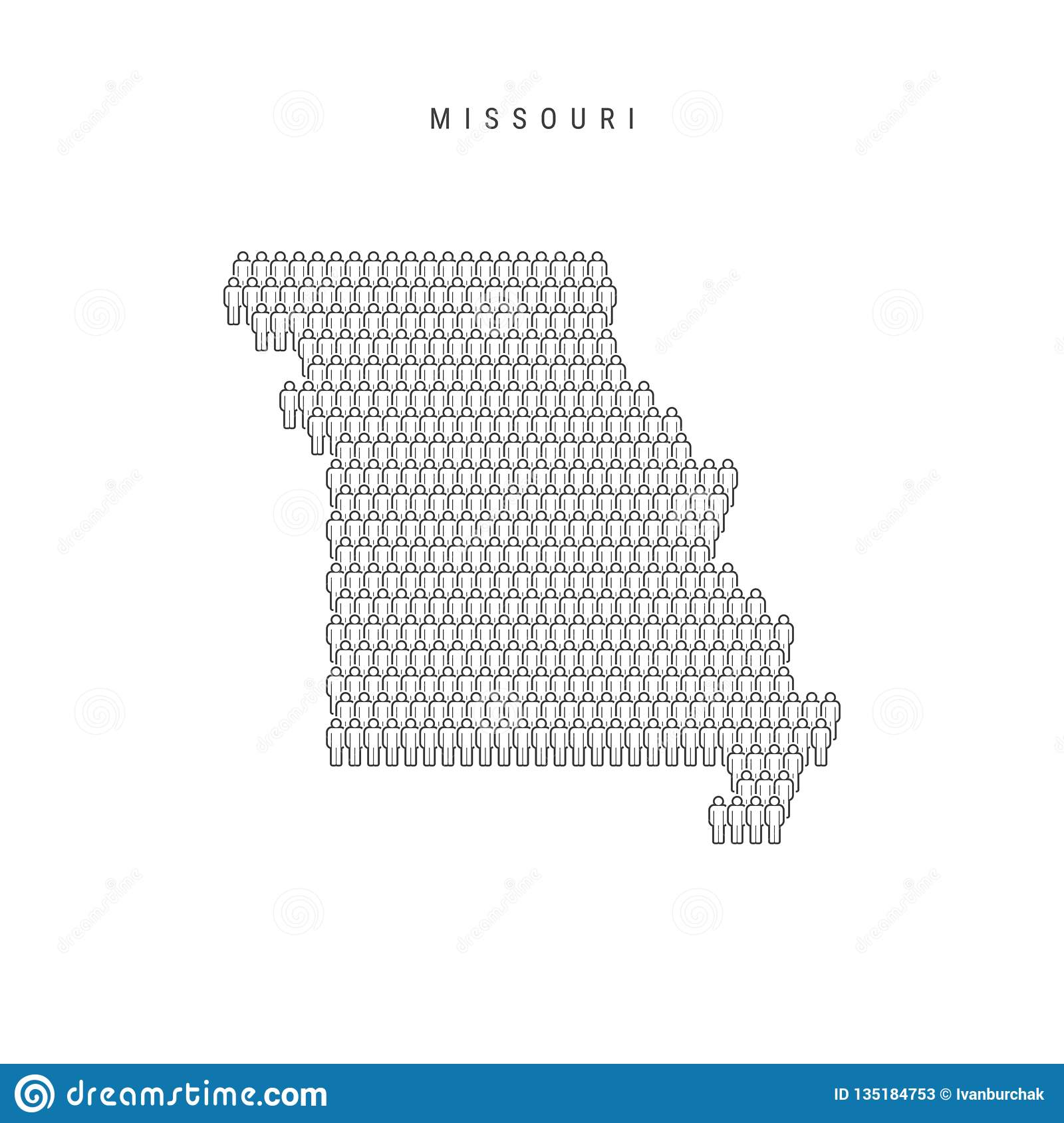 Vector People Map Of Missouri Us State Stylized Silhouette People