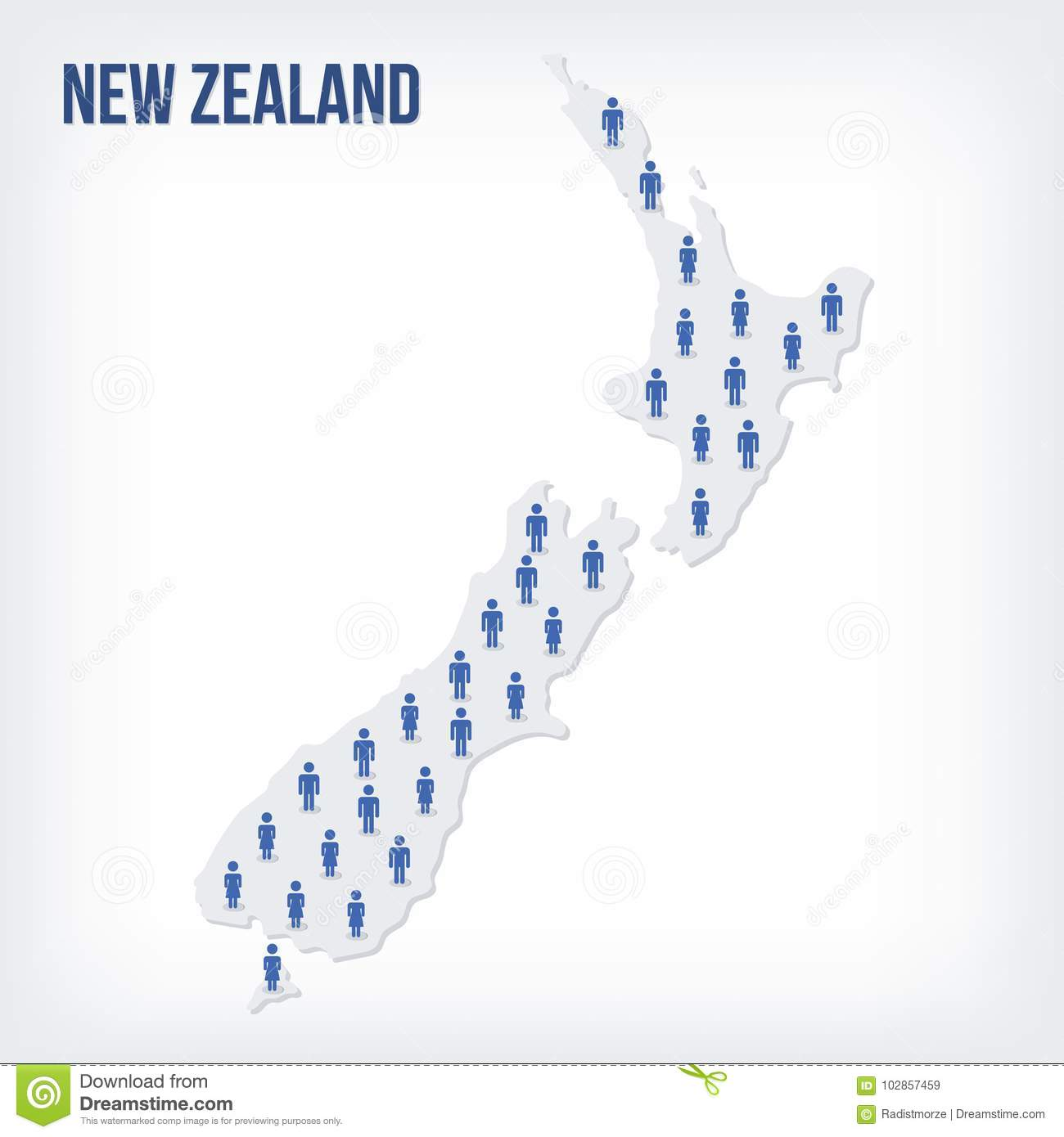 Vector People Map Of New Zealand   The Concept Of Population