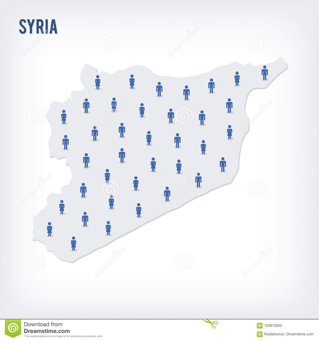 Vector People Map Of Syria   The Concept Of Population