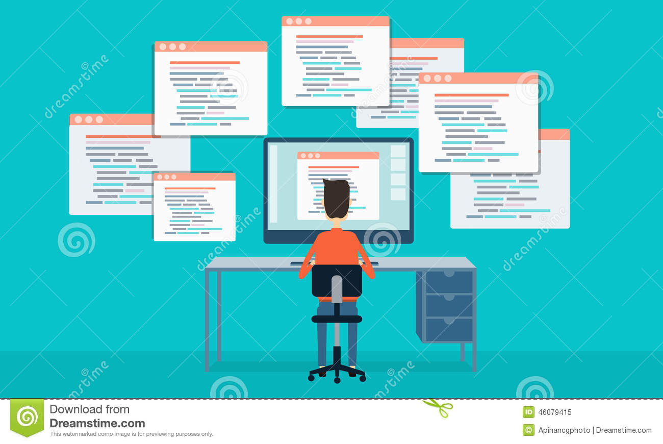 Vector People Programing Develop Web Site And Application