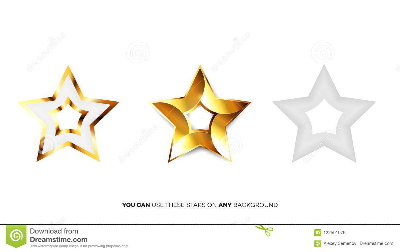 Vector Perfect Glossy Golden Stars Template For Christmas Award Or