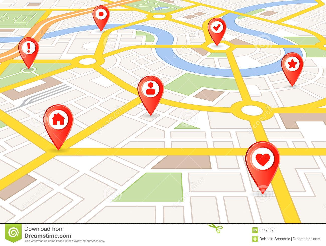 Vector Perspective City Map With Markers Stock Vector