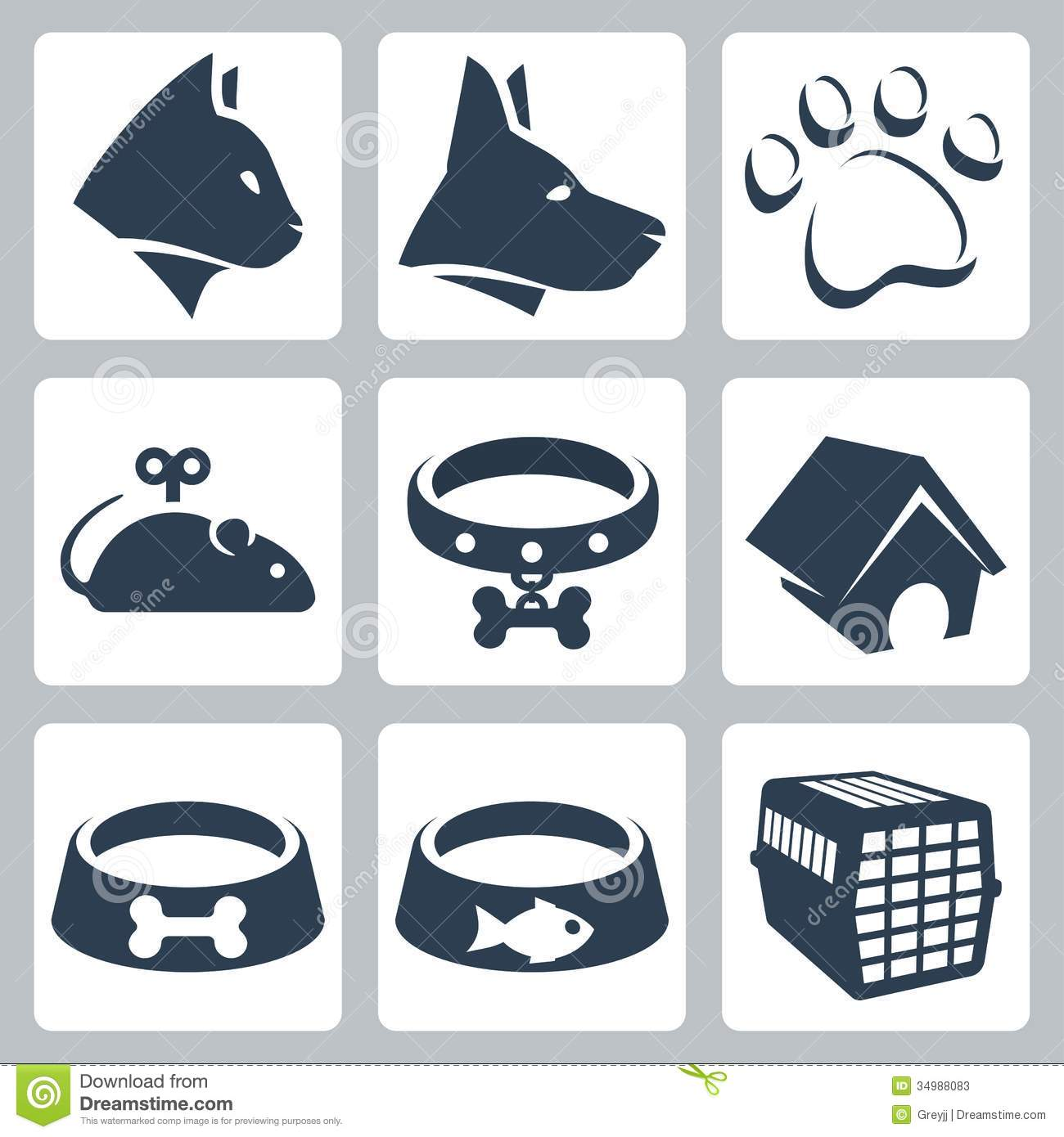 Vector pet icons set: cat and dog, pawprint, mouse and collar, kennel ...