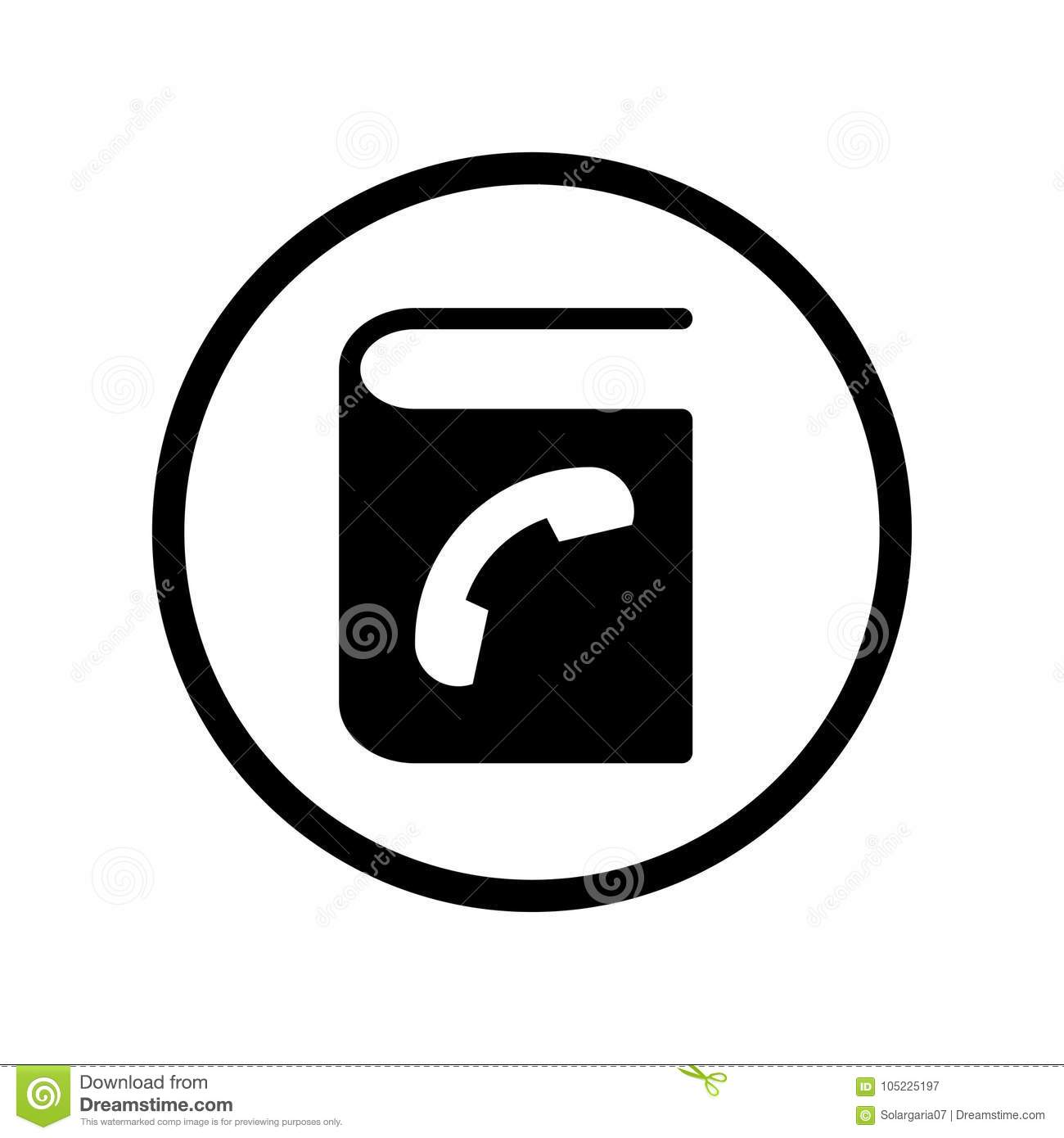 vector of phone book icon in circle line vector iconic design