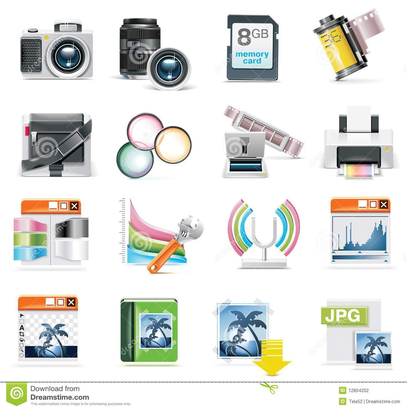 Vector Photography Icon Set Stock Photography - Image: 12804202