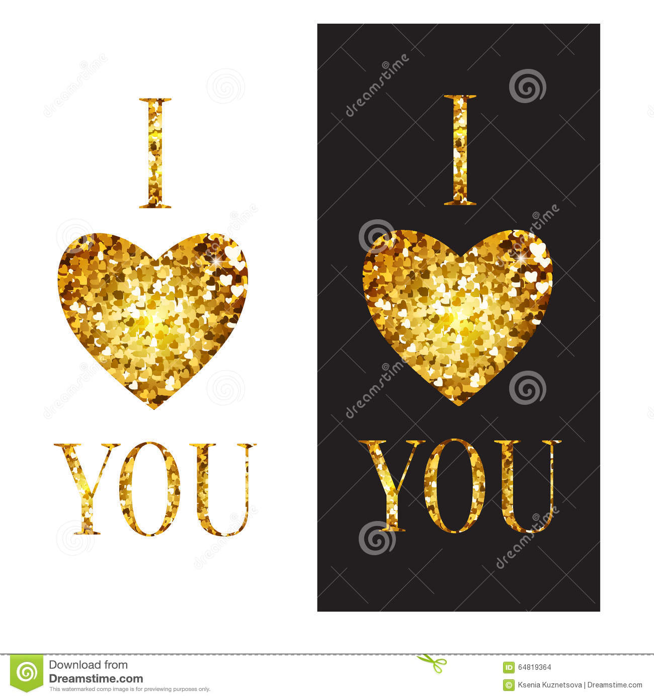 Vector Phrase I Love You Illustration With Golden Stock Vector