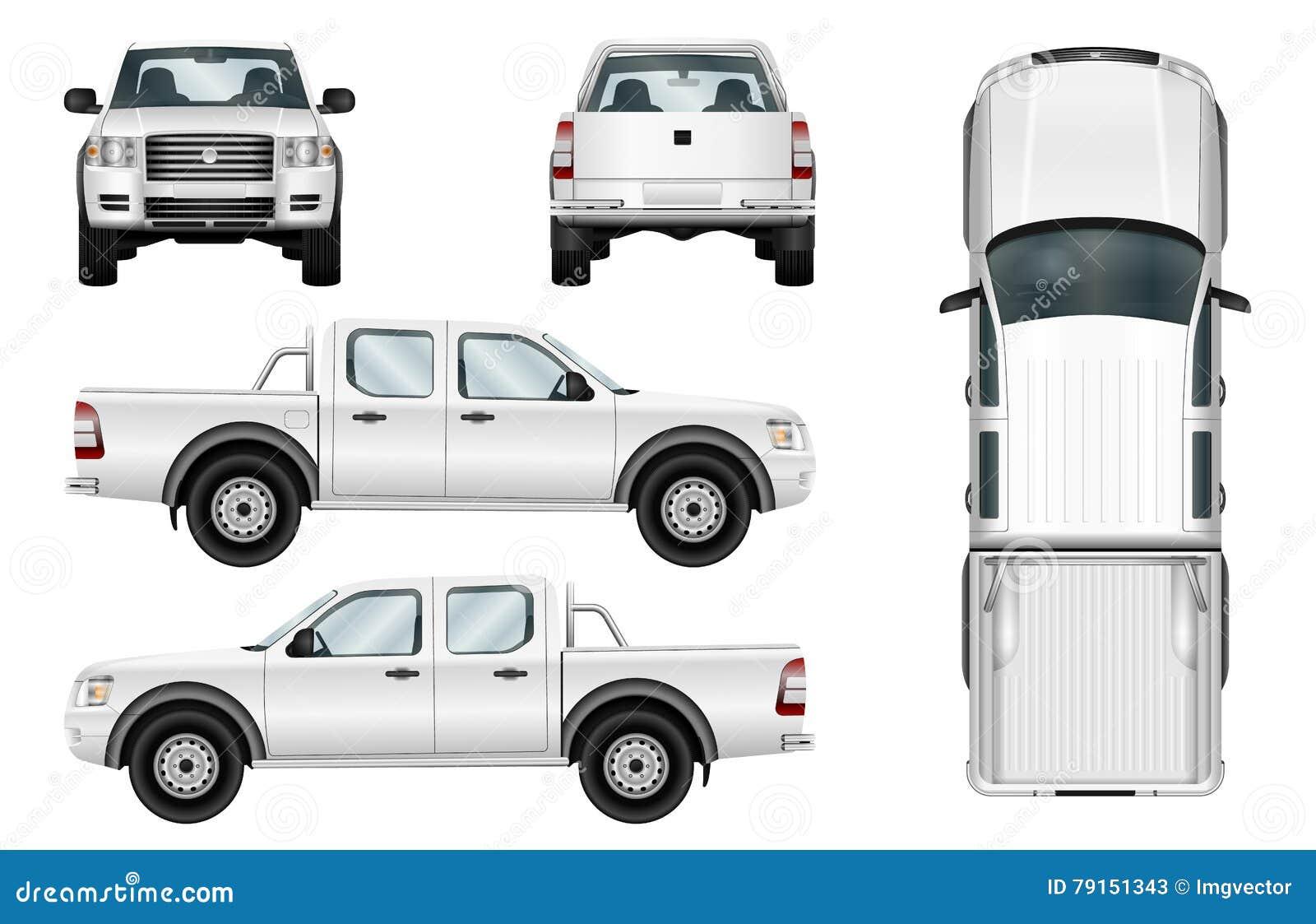 Vector Pickup Truck On White Background Stock Vector