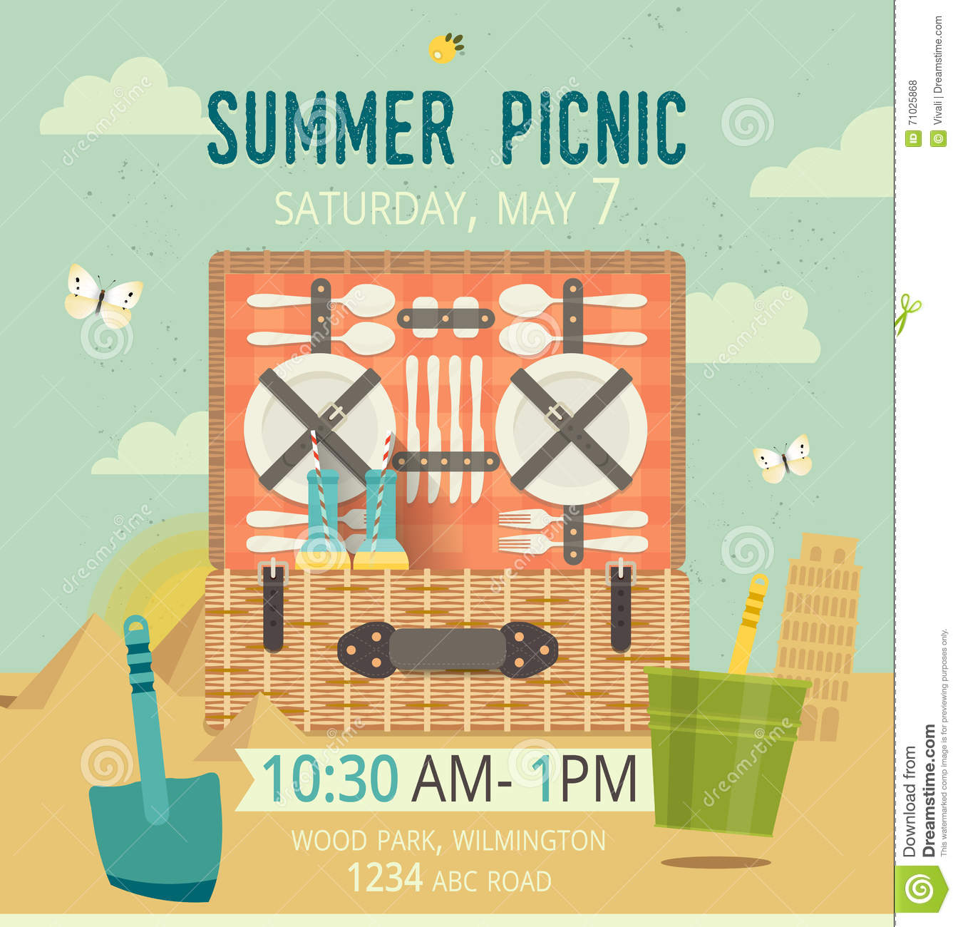Vector picnic on the beach card food and pastime illustration flat download comp stopboris Choice Image