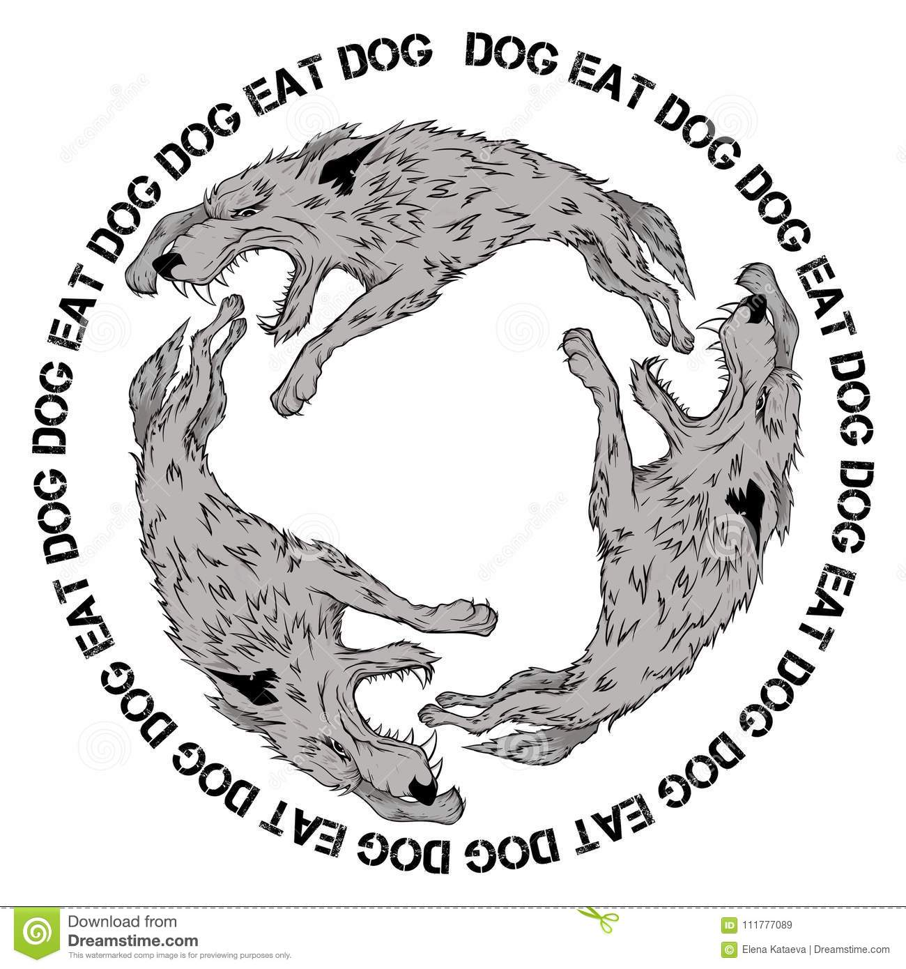 Vector picture of wolves biting each other.