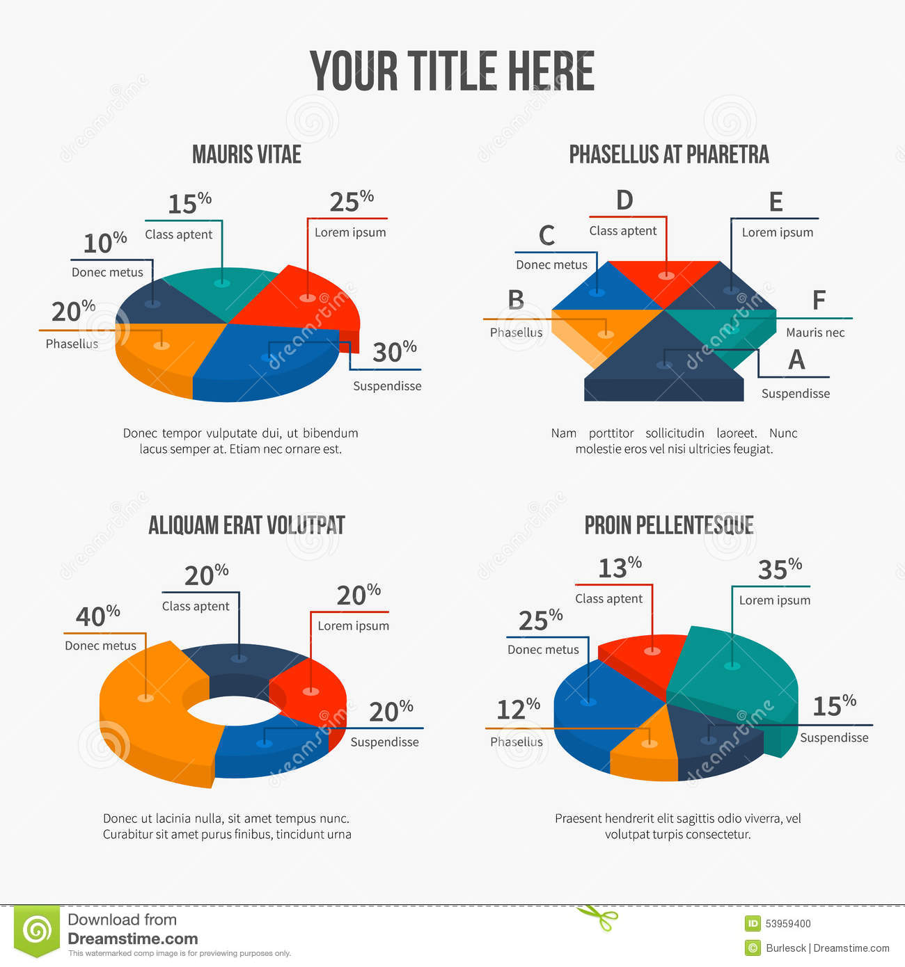Vector pie charts in modern 3d flat style stock vector vector pie charts in modern 3d flat style nvjuhfo Image collections